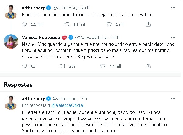 A troca de posts entre Arthur Nory e Valesca Popozuda: 'assumir os erros'