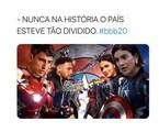 O paredão entre Felipe, Manu e Mari, no 'BBB' 20, tem esquentado a internet e motivado memes. Os internautas brincam com a rivalidade entre os ex-namorados Bruna Marquezine e Neymar, que têm torcidas diferentes | Reprodução