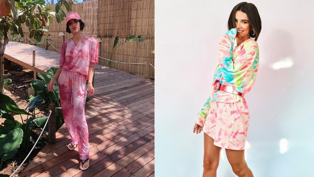 Manu Gavassi em duas produções em que usa peças tie-dye — Foto: Reprodução/Instagram