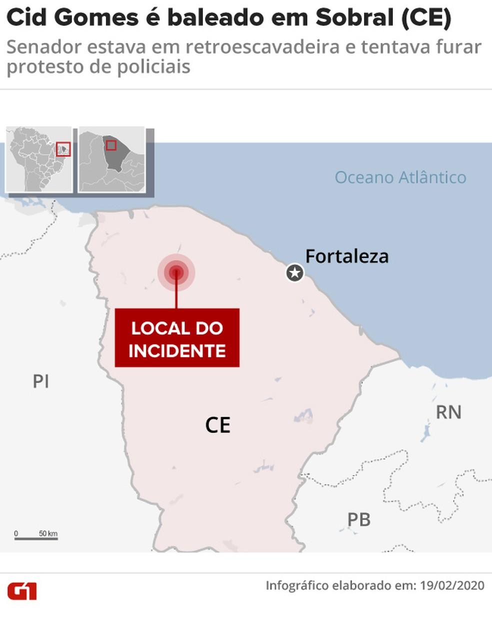 Cid Gomes é baleado em Sobral (CE): senador licenciado estava em retroescavadeira e tentava furar protesto de policiais — Foto: Cido Gonçalves / G1