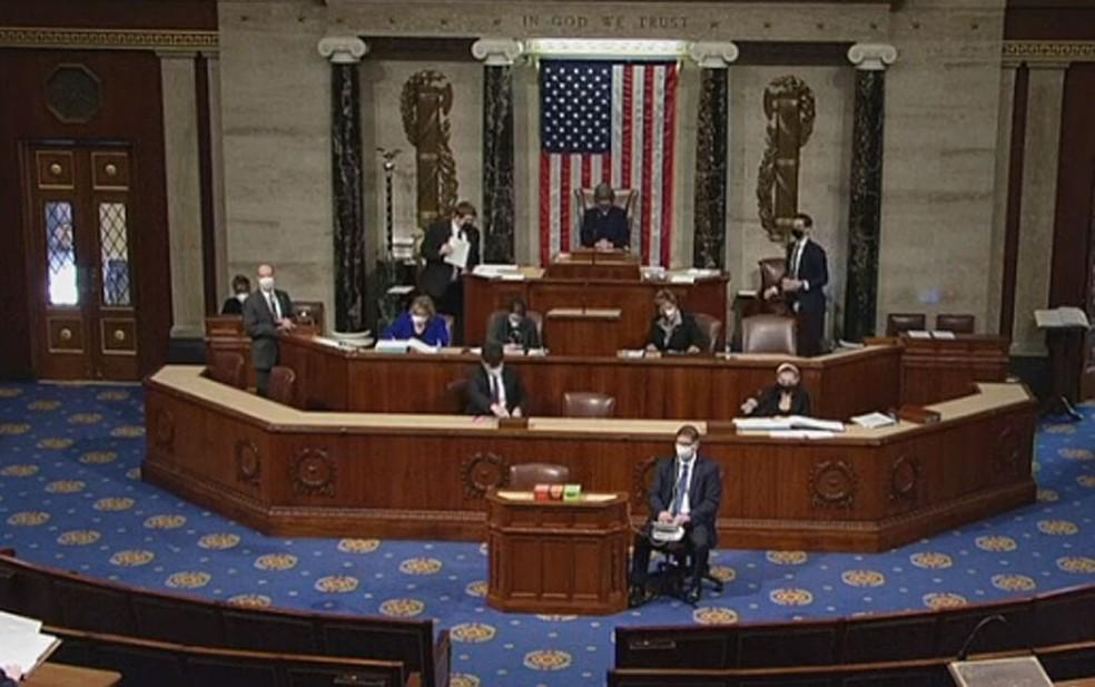Deputados se reúnem nos EUA para discutir o impeachment de Trump — Foto: Reprodução