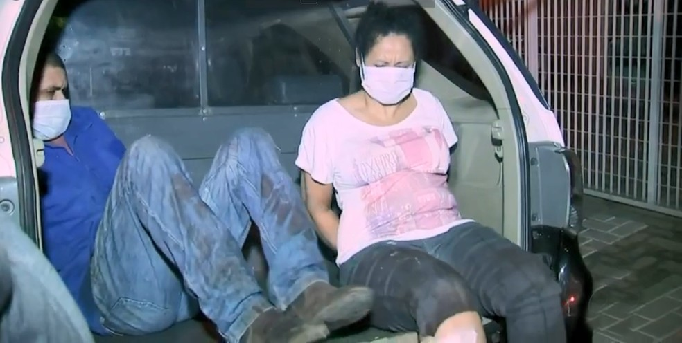 Casal foi preso em flagrante pela morte da personal Andressa Serantoni — Foto: Reprodução/TV TEM