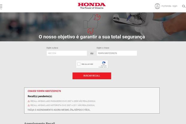 Sistema da Honda confirma que Civic 2007 do policial Tiago Ferreira foi convocado para o recall, mas não foi consertado (Foto: Reprodução)