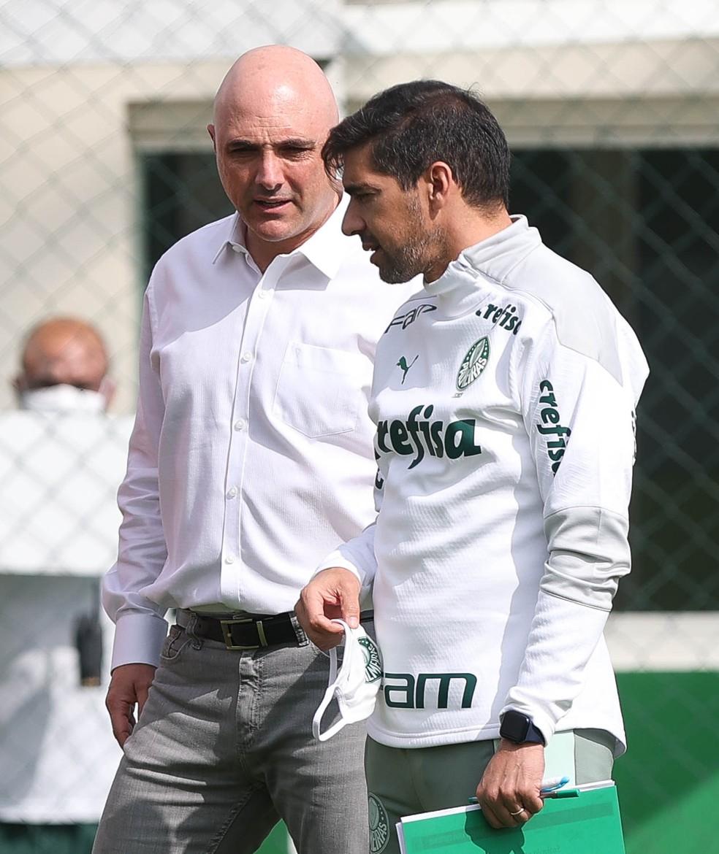 Maurício Galiotte e Abel Ferreira na Academia do Palmeiras — Foto: Cesar Greco / Ag. Palmeiras