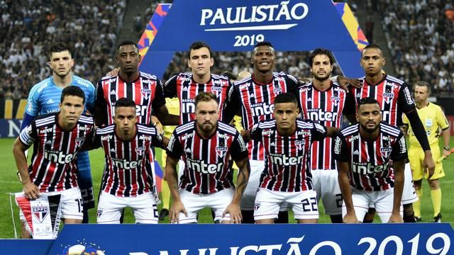 Jogadores do São Paulo no clássico