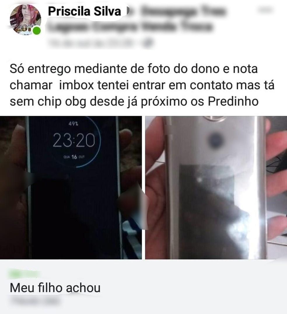 Mãe usa Facebook para encontrar dono de celular após filho de 2 anos encontrar aparelho, em MS. — Foto: Facebook/Reprodução