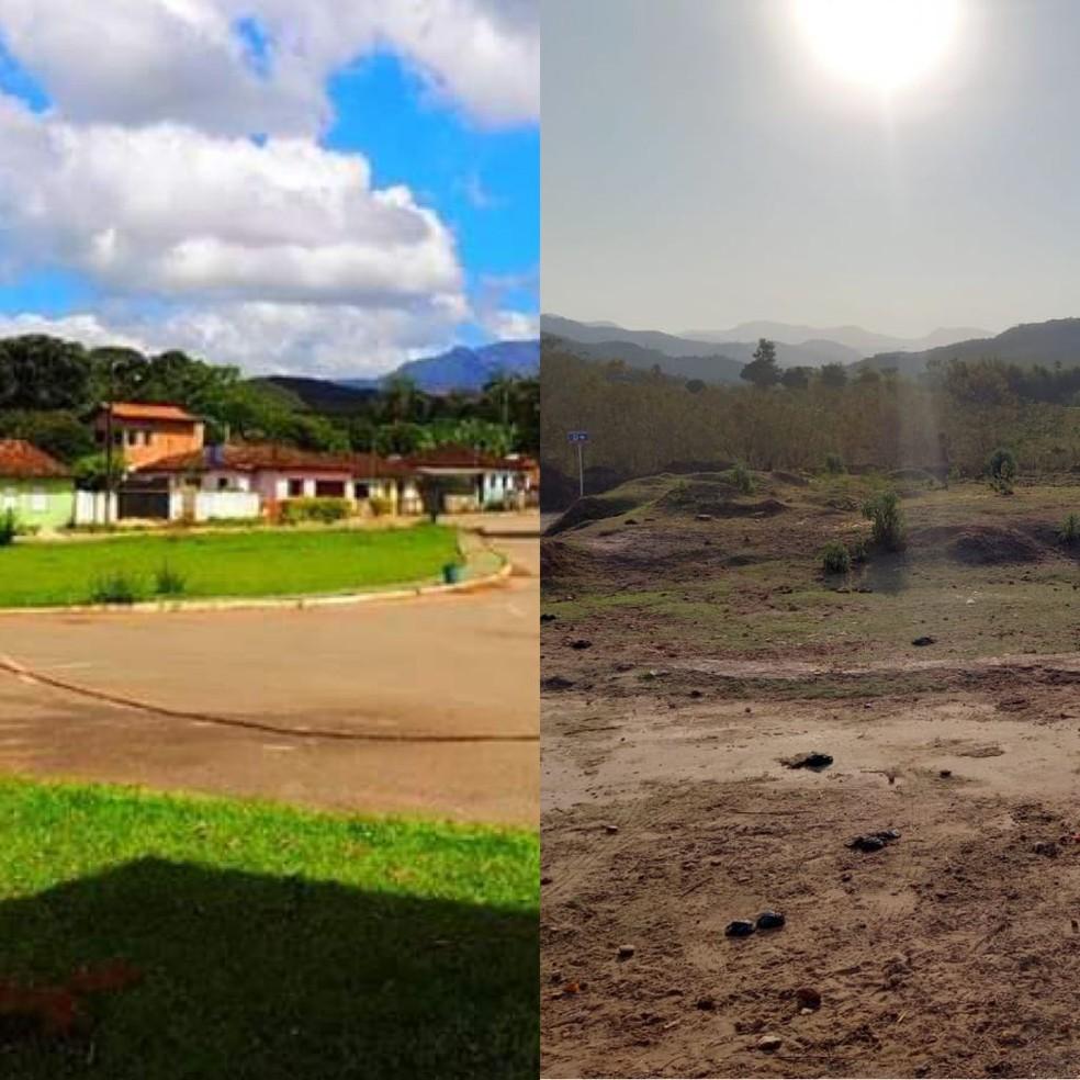 À esquerda, praça de Bento Rodrigues antes de ser invadida pela lama da barragem; à direita, local quase 6 anos após a tragédia — Foto: Mônica dos Santos/Arquivo Pessoal