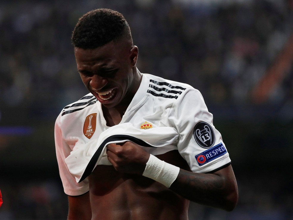 Vinicius Junior na partida eliminação do Real Madrid na Champions — Foto: Reuters