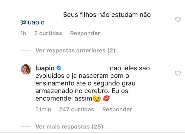 Resposta de Luana para internauta (Foto: Reprodução/Instagram)