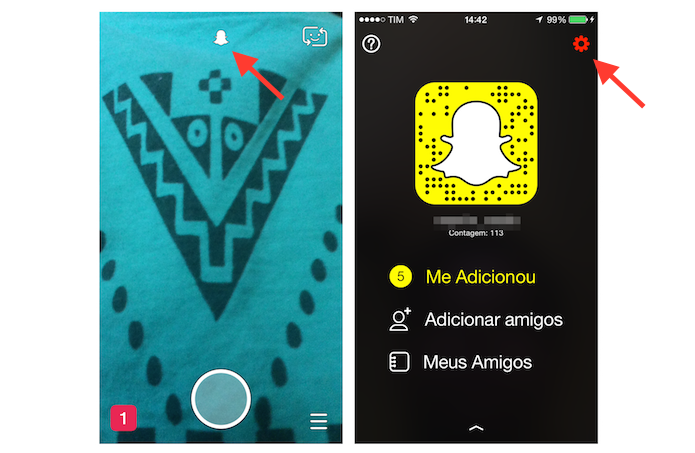 Acessando as configura??es do Snapchat (Foto: Reprodu??o/Marvin Costa)