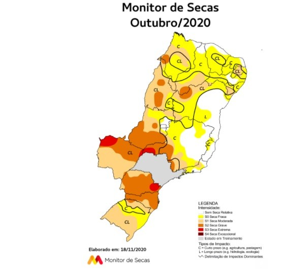 Área de seca na Paraíba tem crescimento de 38% em outubro, diz ANA