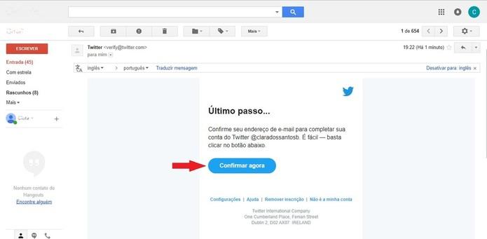 Para confirmar o e-mail, é necessário clicar no link enviado pelo Twitter (Foto: Reprodução/Clara Barreto)