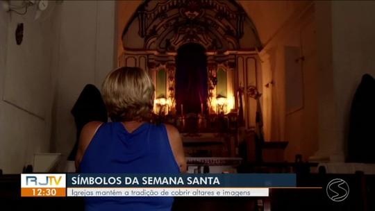 Igrejas de Angra dos Reis mantém tradição de cobrir imagens com pano roxo