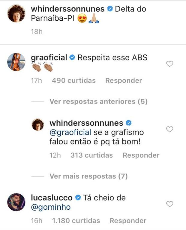 Comentário de Gracyanne Barbosa e Lucas Lucco na foto de Whindersson Nunes (Foto: Reprodução/Instagram)