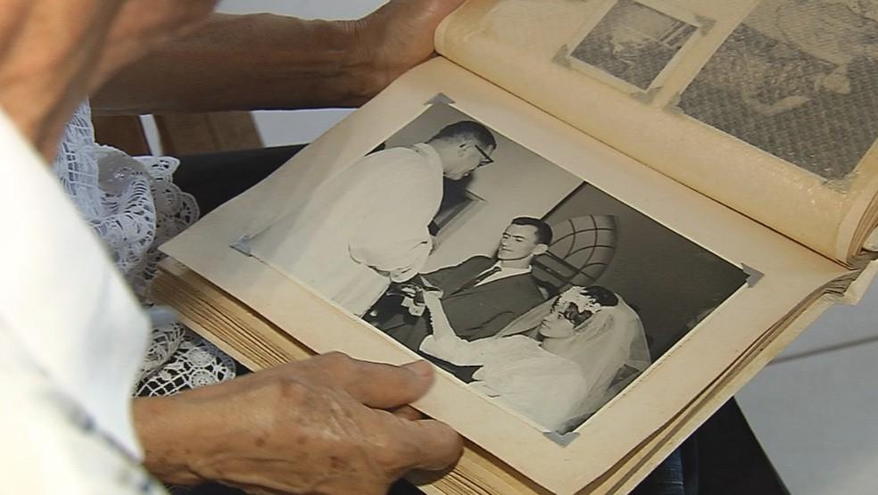 Casal de Marília relembrou casamento há 55 anos — Foto: Reprodução/TV TEM