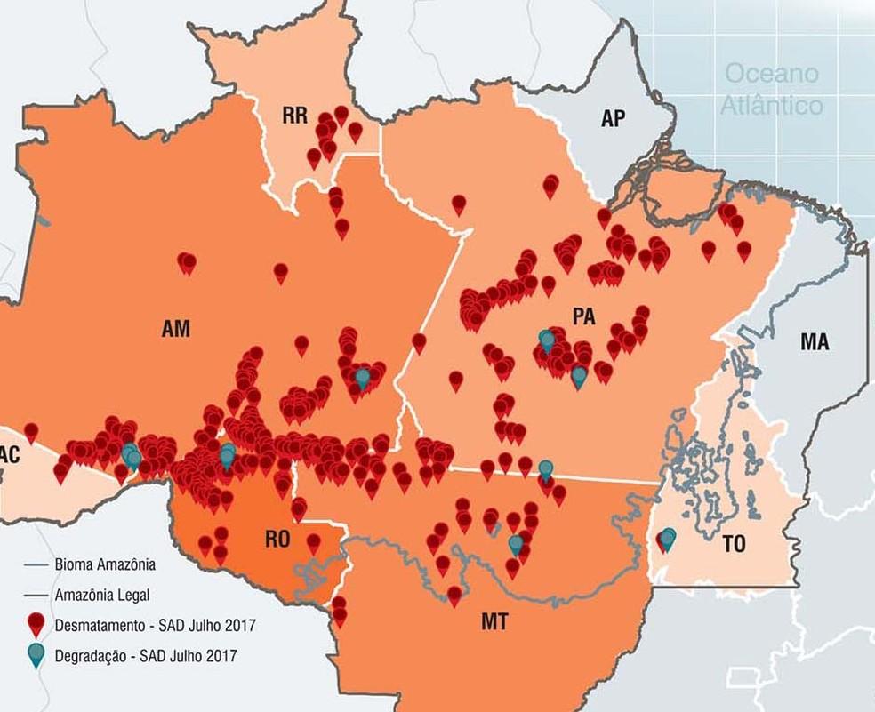 Pontos de desmatamento em julho de 2017 segundo monitoramento do Imazon (Foto: Divulgação/Imazon)