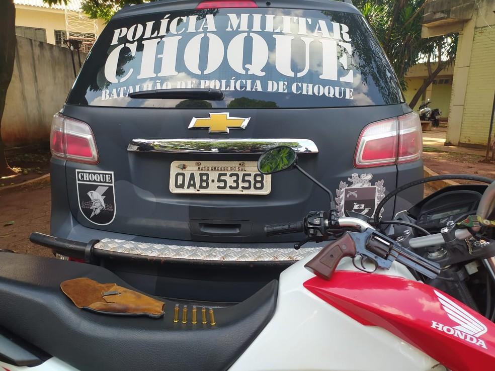 Motocicleta usada no roubo em MS — Foto: Polícia Militar/Divulgação