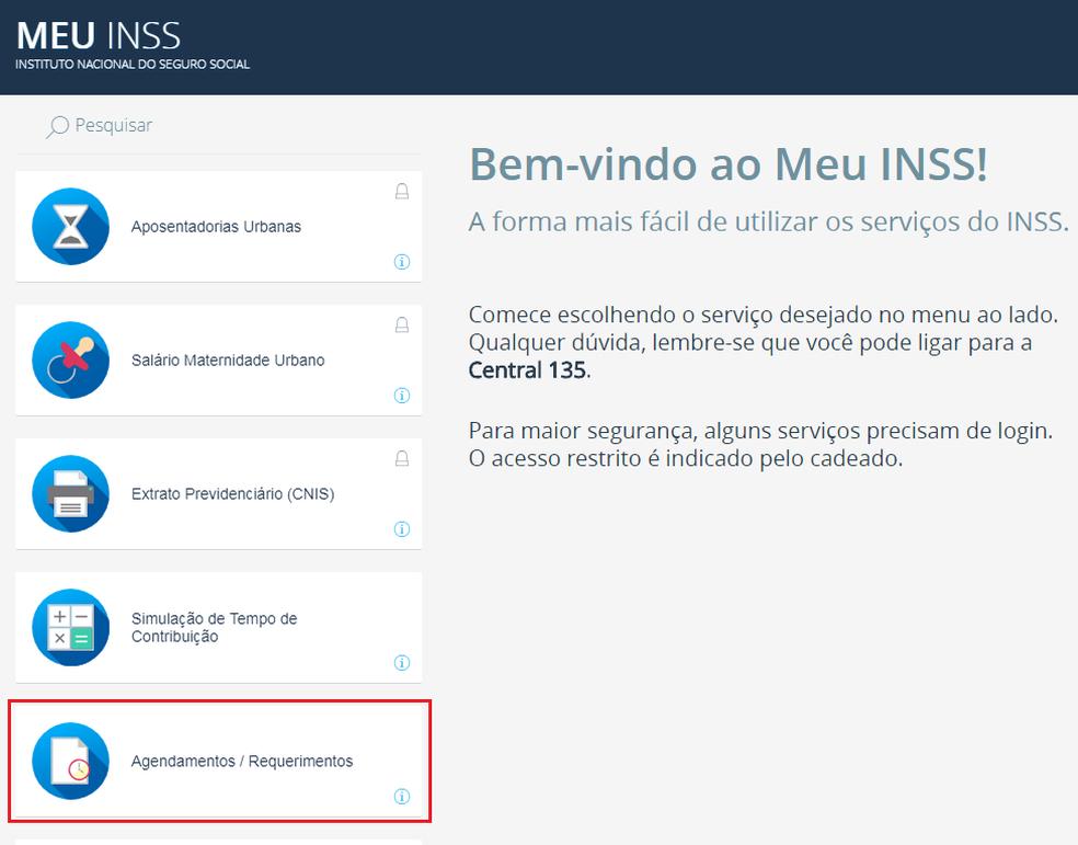 Confira o andamento do pedido de aposentadoria pelo menu lateral do Meu INSS (Foto: Reprodução/Meu INSS)