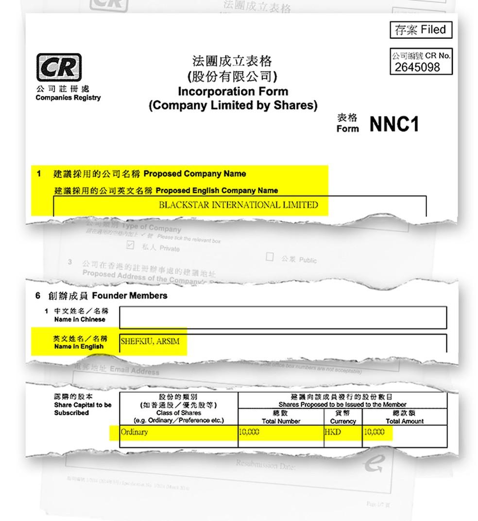 Documento de Hong Kong mostra quem é o presidente e qual é capital social da Blackstar: 10 mil dólares de Hong Kong, equivalente a R$ 5 mil — Foto: Reprodução