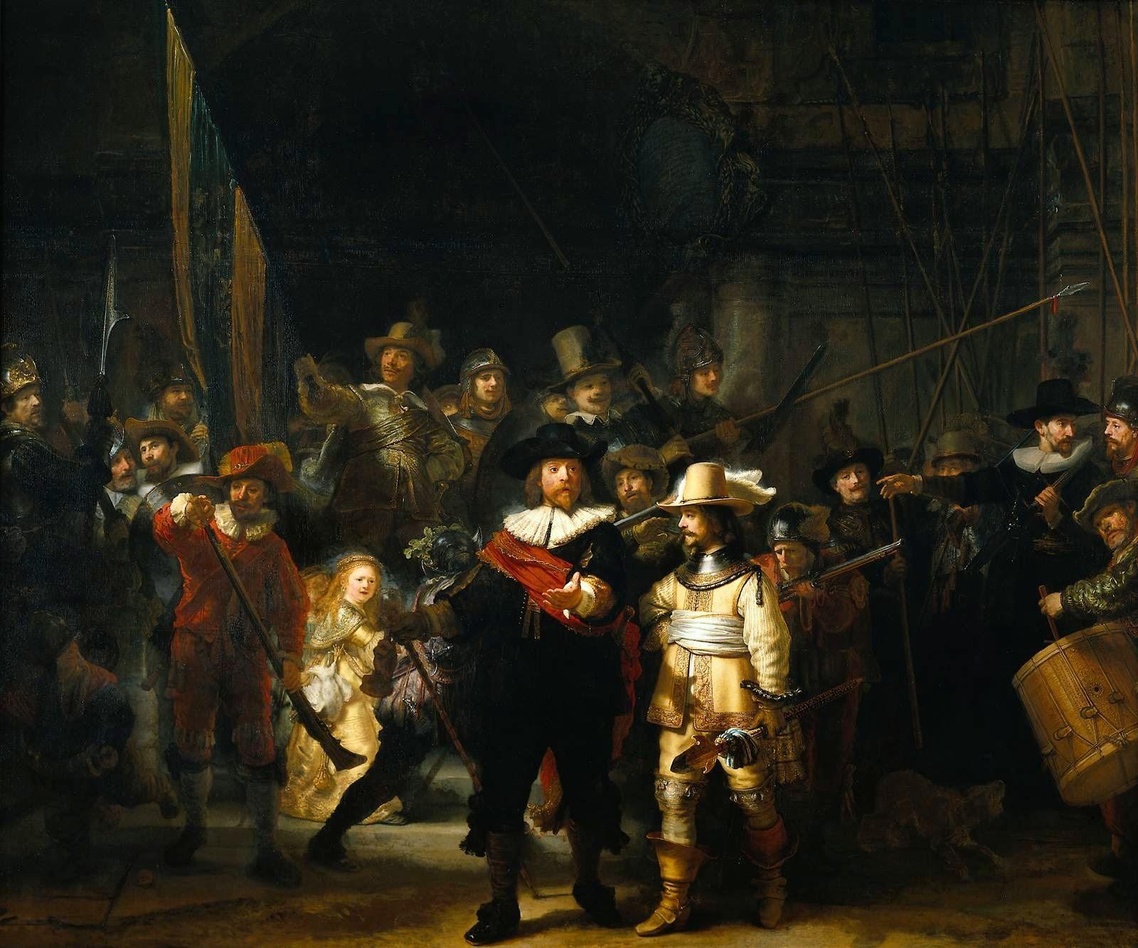 """A tela """"Ronda noturna"""", pintada pelo holandês Rembrandt"""