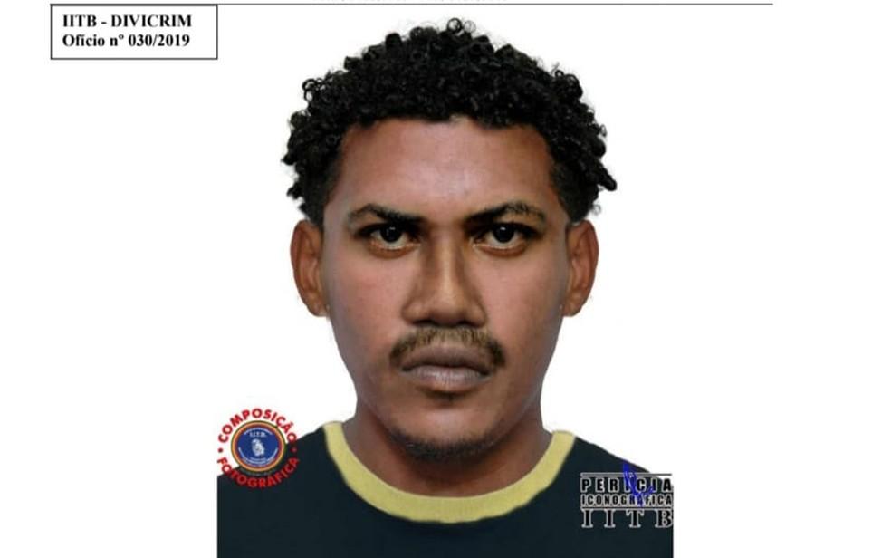 Retrato falado de homem suspeito de assaltar e ferir coronel da PM foi divulgado pela Polícia Civil  — Foto: Polícia Civil/Divulgação