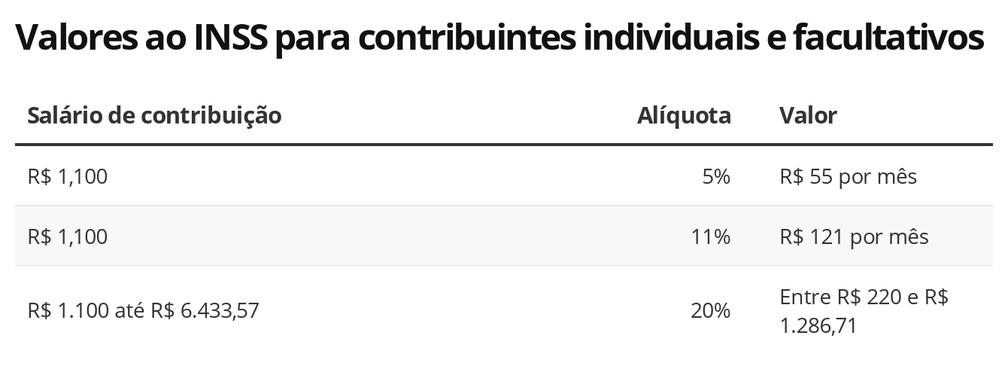 Contribuição de autônomos ao INSS em 2021 — Foto: Economia G1