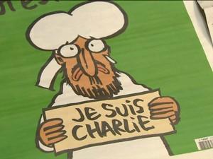Nova edição da Charlie Hebdo (Foto: GloboNews)