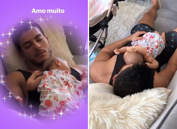 Arthur Aguiar tira soneca com Sophia (Foto: Getty Images e Reprodução / Instagram)