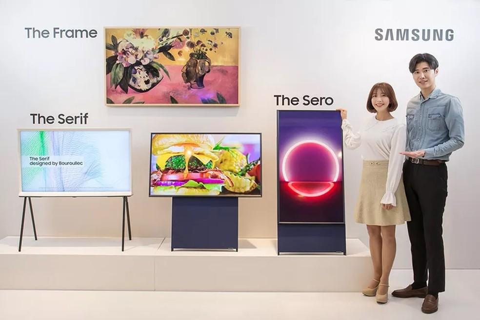 """Nova TV da Samsung é """"irmã mais nova"""" da Serif TV e da The Frame — Foto: Divulgação/Samsung"""