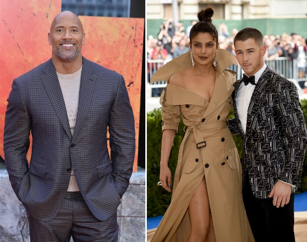 O ator Dwayne The Rock Johnson com o casal de namorados formado por Priyanka Chopra e Nick Jonas (Foto: Getty Images)