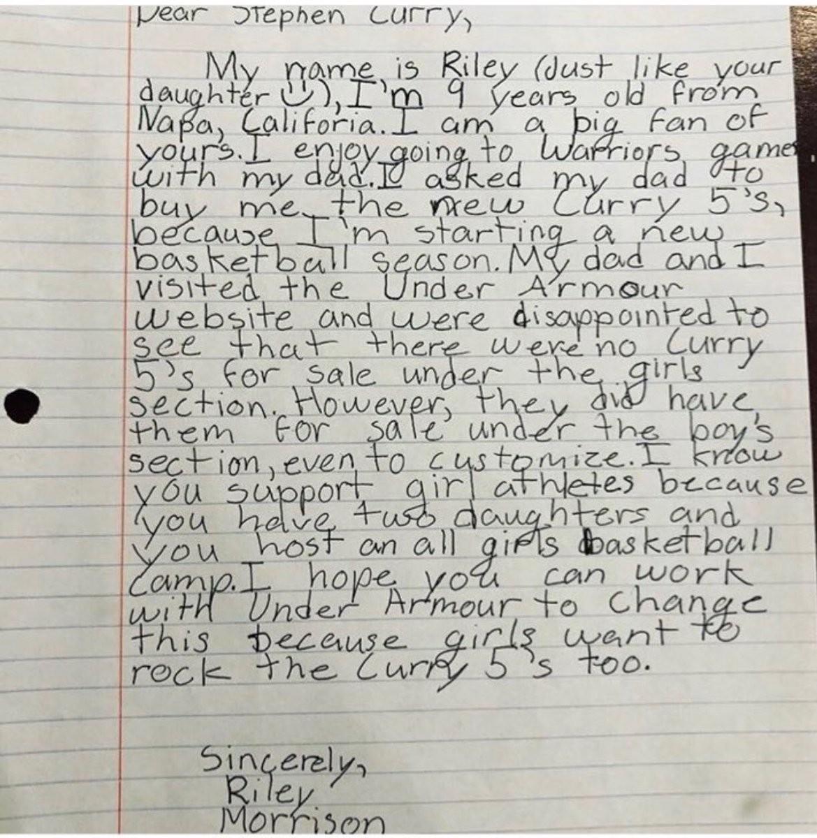 Versão original da carte escrita por Riley (Foto: Reprodução Instagram)