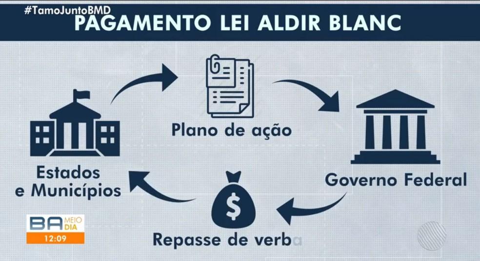 De acordo com a Lei Aldir Blanc, a União entregou verba para estados e municípios para aplicação em ações emergenciais de apoio ao setor cultural — Foto: Reprodução/TV Bahia