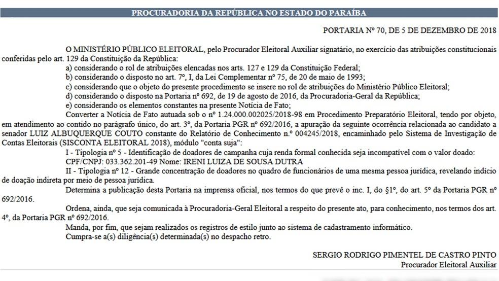 Abertura de investigação foi publicada no Diário Eletrônico do MPF nesta sexta-feira — Foto: Reprodução