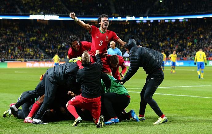 portugal comemora, Suecia x Portugal (Foto: Getty Images)