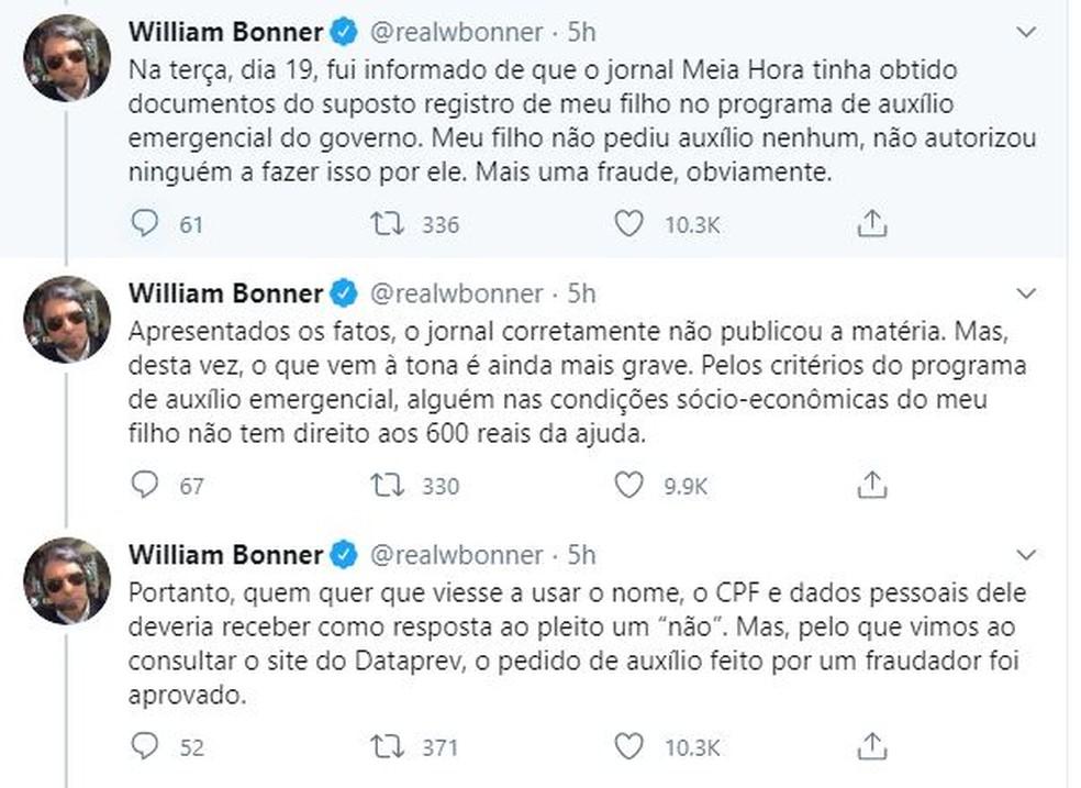 William Bonner postou o caso nas redes sociais — Foto: Reprodução/Twitter/@realbonner