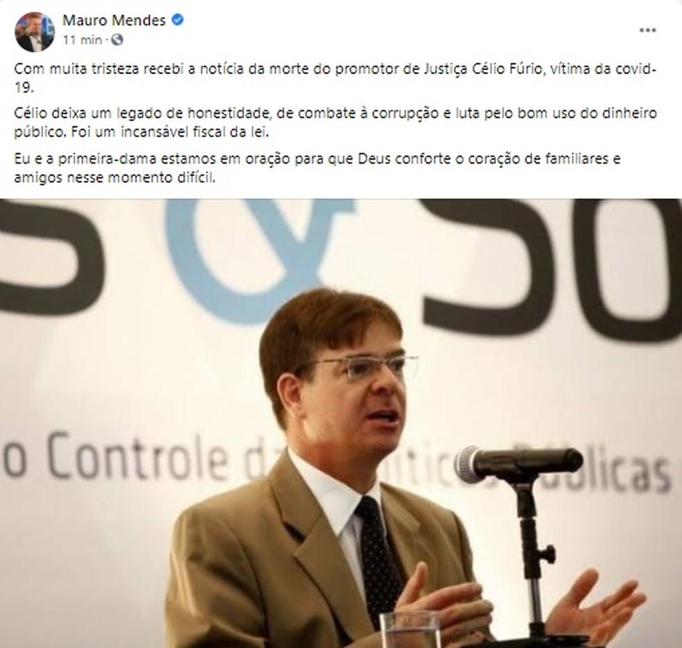 Governador postou mensagem lamentando a morte de promotor — Foto: Facebook/Reprodução
