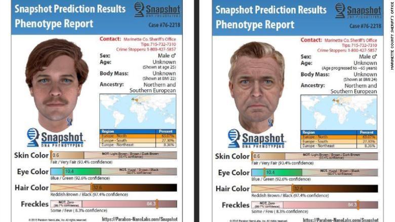 Composição de detalhes do rosto do suspeito (Foto: Reprodução/ Parabon)