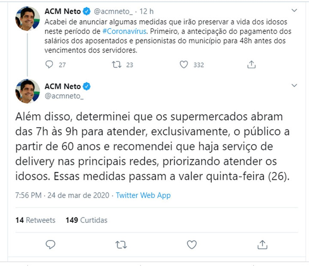 ACM Neto anunciou novas medidas para conter a disseminação do novo coronavírus em Salvador — Foto: Reprodução/Twitter