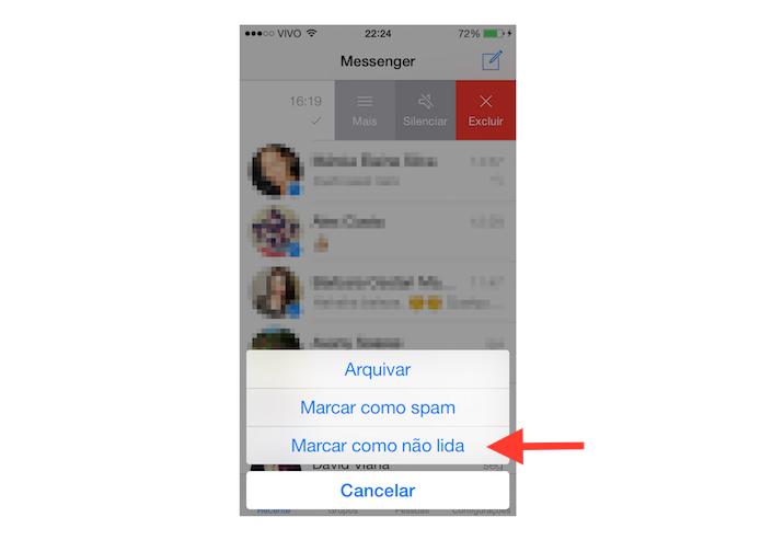 Marcando uma mensagem como não lida no Facebook Messenger para iOS (Foto: Reprodução/Marvin Costa)