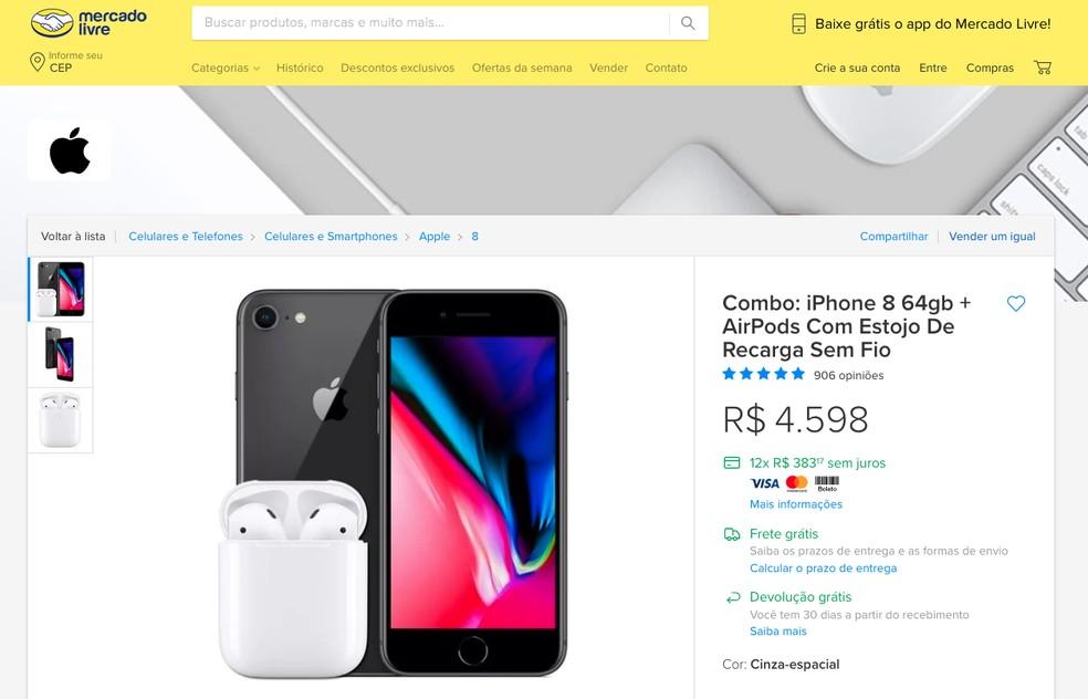 Combo de iPhone 8 e AirPods com estojo de recarga sem fio no Mercado Livre — Foto: Reprodução/TechTudo
