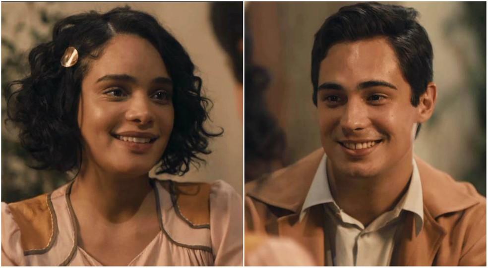 Carlos (Danilo Mesquita) aceita fugir com Inês (Carol Macedo) em 'Éramos Seis' — Foto: Globo