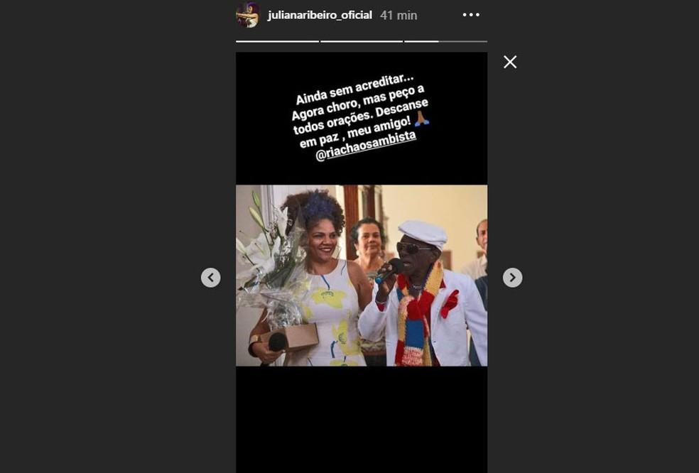 A cantora Juliana Ribeiro usou redes sociais para lamentar morte de Riachão .  — Foto: Reprodução / Redes Sociais