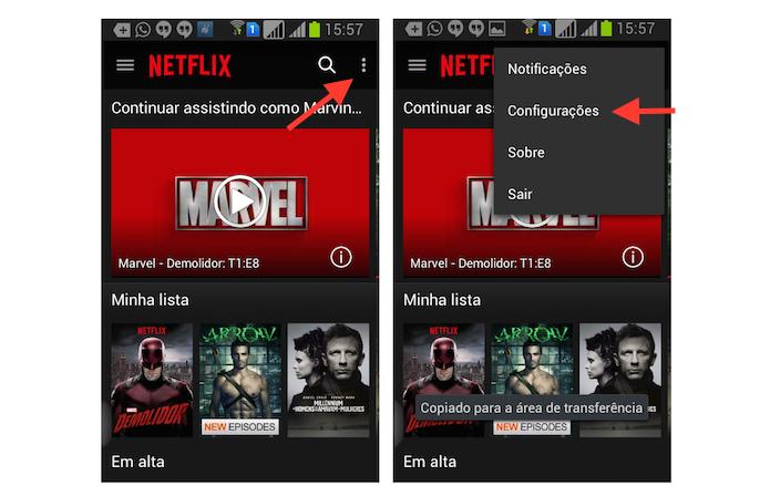 Acessando as configurações do Netflix no Android (Foto: Reprodução/Marvin Costa)