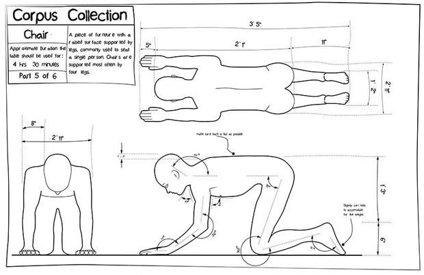 Artista usa o próprio corpo para criar móveis e consegue patente (Foto: Divulgação)