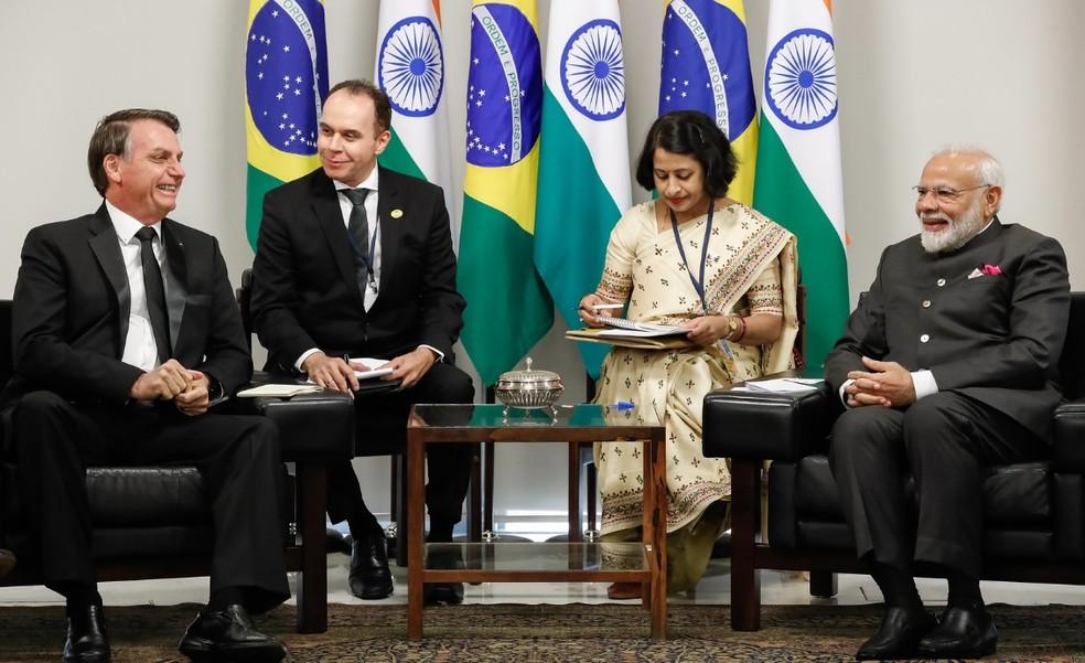O presidente Jair Bolsonaro e o primeiro-ministro da Índia, Narendra Modi, em encontro no Planalto durante a Cúpula do Brics, em 2019 — Foto: Alan Santos/PR