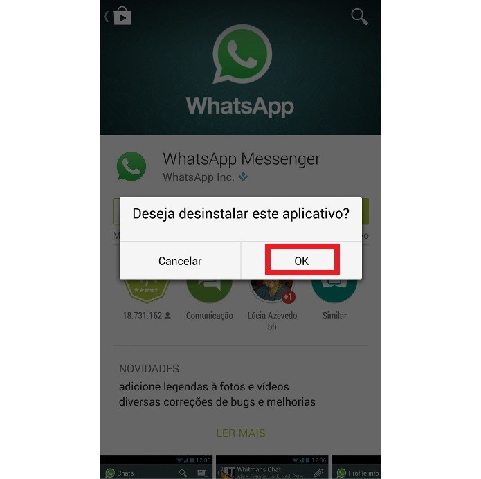 Página do WhatsApp no Google Play (Foto: Reprodução/Lívia Dâmaso)