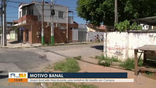 Jovem leva sete tiros em tentativa de assalto em Campos, no RJ