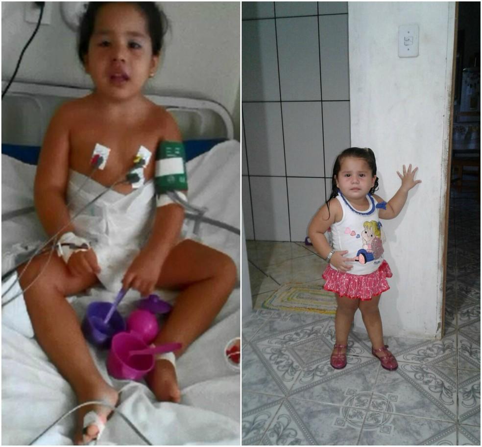 Os pais falam que mesmo doente, a menina é muito alegre e não abre mão de brincar (Foto: Arquivo pessoal)