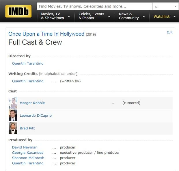 O IMDb (Internet Movie Database) já confirma DiCaprio e Pitt juntos no filme (Foto: Reprodução)