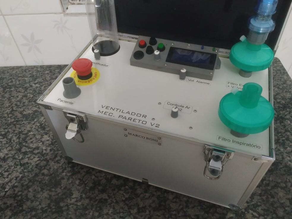 Protótipo de ventilador pulmonar desenvolvido pela Unila, em Foz do Iguaçu — Foto: Luiz Fachin/Arquivo pessoal